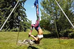aerial yoga outdoors